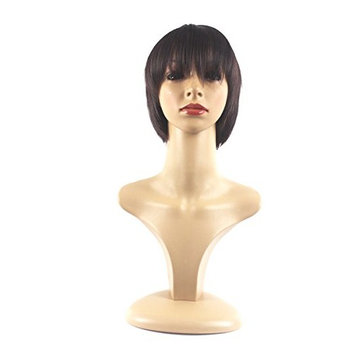 Xiaoyu Stylish Short Straight Synthetic Replacement Wigs - Dark Brown