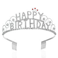 FRCOLOR Happy Birthday Tiara, Rhinestone Birthday Tiara Crown Princess Crown
