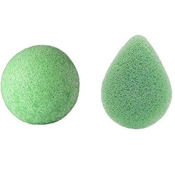 Green Tea Konjac Facial Sponge, 2 Pack All Natural Original Pure Deep Cleansing Facial Sponge for All Skin Type