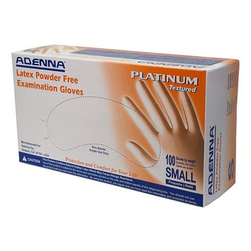 Adenna Platinum 5.5 mil Latex Powder Free Exam Gloves (White, Small) Box of 100
