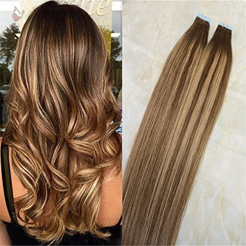 20pc/50g Real Hair Extensions Tape In Balayage Color Chocolate Brown to Honey Blonde Mixed Warm Brown Glue In Hair Extensions for Short Hair(22