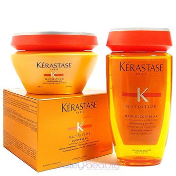 Kerastase Nutritive Bain Oleo-relax Shampoo 8.5 and Masque 6.8 Duo, for Very Dry, Curly, and Unruly Hair