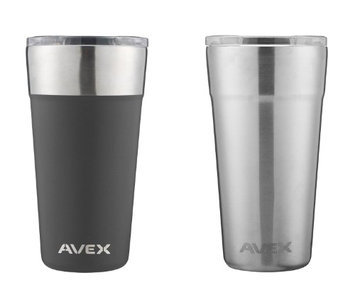 Avex Brew Pint Glass 20oz, Black & Stainless (2 Pack)
