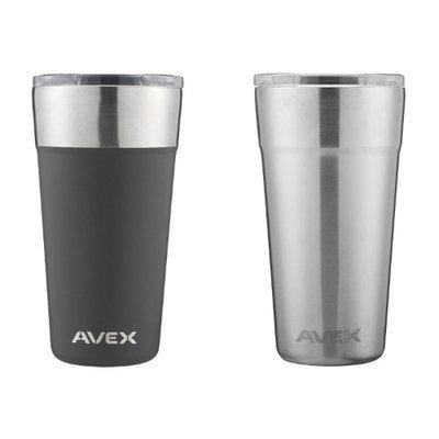 Avex Brew Pint Glass 20oz, Black & Stainless (2 Pack)