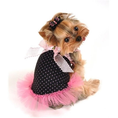 Hip Doggie HD-3PBD-XXS 2XS Bow Tulle Dress - Pink