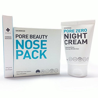 [SKINMISO-KOREA] SET - Pore Beauty Nose Pack Blackhead Care 3 Step System (10 Weeks Program) + Comedo Remover Tool + Pore Zero Night Cream 80g : Beauty