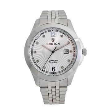 Men's Silvertone Diamond Dial Watch