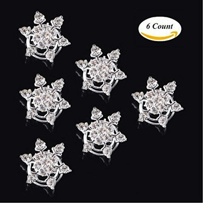 Aysekone 6 PcsPack Bridal Wedding Prom Crystal Flower Hair Pins Swirl Spiral Twist Snowflake Hairpin Clip Accessories for Women Girls(Transparent)