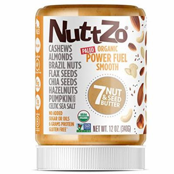 Nuttzo Organic Smooth Paleo Power Fuel Seven Nut and Seed Butter, Peanut Free, 12 Oz, 4 Pack