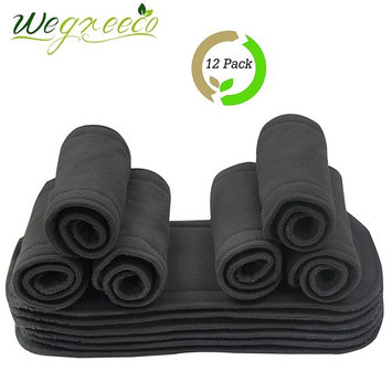 Wegreeco Reusable Soft 5 Layers 12 Pack Bamboo Charcoal Inserts for Baby Cloth Diaper,High Absorbing Washable Liners