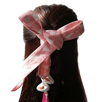FANTAC CRAFTS 70 inches Rabbit Tassel Bead Hair Band Pink Very Long Hair Rope Cosplay Antique Retro Women Girl Lady Cotton Hair Ribbon