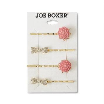 Joe Boxer Women's 4-Pack Goldtone Hair Clips - Flower & Bow