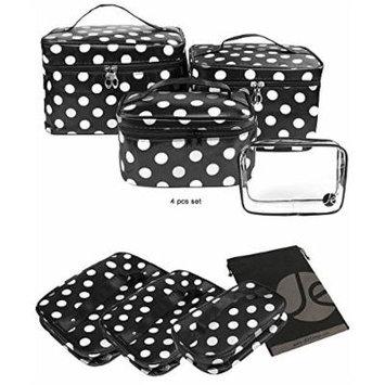 JE (Black/White Polka Dot) Makeup Brush Cosmetic Travel Organizer Bag W/ Clear PVC Bag (4 PCS SET: XSM, SM, MED, LG)