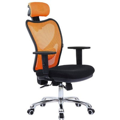 LSCING High-Back Comfortable Mesh Office Chair with Adjustable Headrest, Armrest and Lumbar Support, Orange