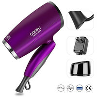 CONFU 1600W Portable Compact Hair Dryer Foldable Handle Blow Dryer Lightweight Folding Ionic Hair Dryer Infrared Heat Technology for Faster Drying & Maximum Shine