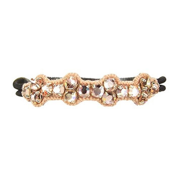 Deepa Gurnani Pony Tail Holder in Peach Crystals & Pink Embroidery