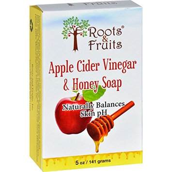 Roots and Fruits Bar Soap - Apple Cider Vinegar and Honey - 5 oz - Gluten Free - Naturally Balances skins pH and nourish your skin
