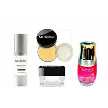 Mica Beauty Bundle of 4 Items: Makeup Primer + Moisturizer + Powder Foundation Mf4-honey + Arogan Oil