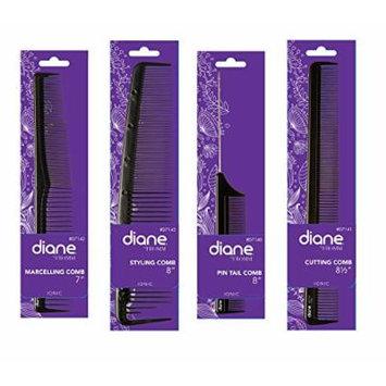 Diane Anti-Static Ionic Black Comb Set - Get 4 Combs