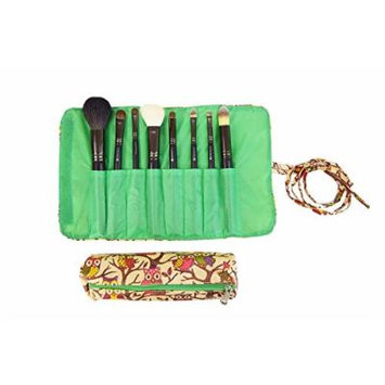 2 Pcs Set Brush Rolling Organizer Cosmetic Bag Brown Pink Owl With Green Trim, CASE OF 12