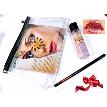 ITAY Mineral Cosmetics Mica & Glitter Lip Sealant+Makeup Brush+Airplane Travel Cosmetic Bag(Bundle of 3 Items) (Red)