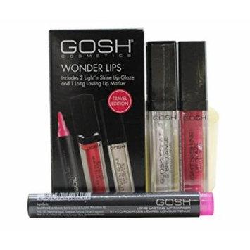 GOSH Wonder Lips Gift Set 0.1oz (2.5ml) Long Lasting Lip Marker - 002 Pink + 2 x 0.2oz (6ml) Light'n by Gosh