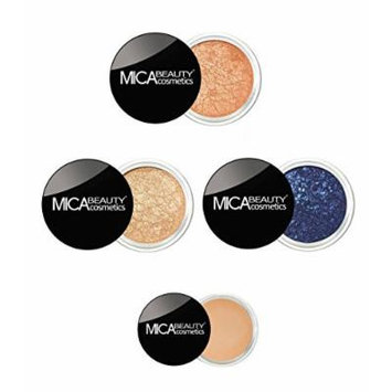 Mica Beauty Bundle 5 Items : Eye Shimmer # 13 Coral,# 8 Tease, #79 Royal , #Eye Primer, Duo Brush by MicaBeauty