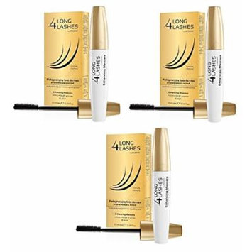 Long 4 Lashes by Oceanic, Enhancing Mascara for Volume, Length, Curves, Black, 10 ml (Pack of 3)