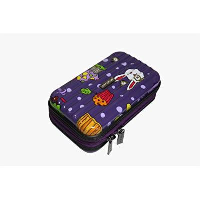 Centurion Universal Travel Pouch Hard Case for Cosmetics and Accessories (Bunny Cupcake Dots / Purple)