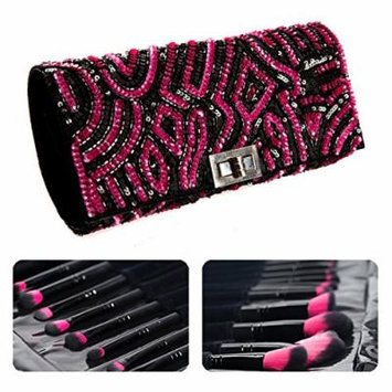 PINK PEWTER COSMETICS 13 PIECE MAKEUP BRUSH KIT WITH JEWELED CASE