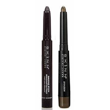 Skinn Cosmetics Smudge Stick for Eyes - Set of 2 Waterproof Eye Pencils - Black Shimmer & Brazen