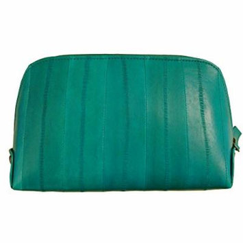 Genuine Eel Skin Leather Zip Around Cosmetic Makeup Pouch (Teal)