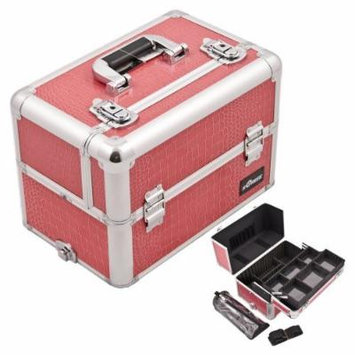 Casemetic Hot Pink Easy Slide Tray Crocodile Textured professional Aluminum Cosmetic Case With Brush Holder And Dividers