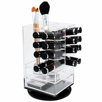 Ikee Design Spinning Acrylic Makeup Organizer | Spinning Lipstick Tower Rotating Brush Holder Premium Acrylic Makeup Organizer Cosmetic Storage with 2 Drawers (Holds Up to 16 Lipsticks)