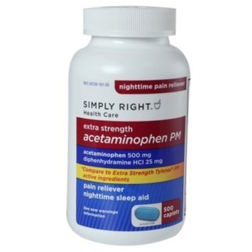 Acetaminophen PM 500 mg, 375 Rapid Release Caplets Extra Strength Pain Reliever Diphenhydramine HCl 25 mg Nighttime Sleep Aid