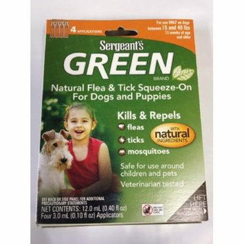 Sergeant's Green Flea and Tick Squeeze-On Dog 15 - 40 LBS 4 Count