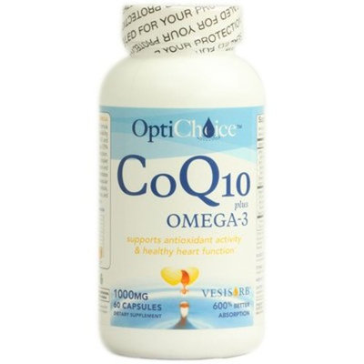Optichoice® Coq10 Plus Omega- 3 - The Ultimate Heart Health Formula with Vesisorb® Colloidal Droplet System Delivers 6x Better Absorption and Bioavailability - Made in USA - 1000mg – 60 Capsules/softgels