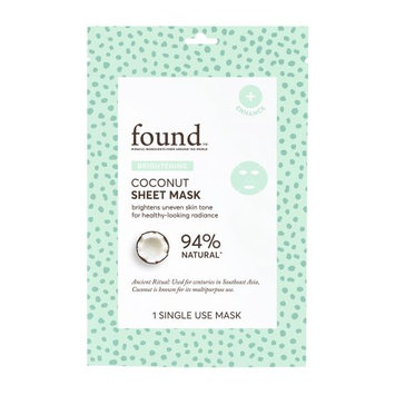 FOUND BRIGHTENING Coconut Sheet Mask, 1 Single Use Mask