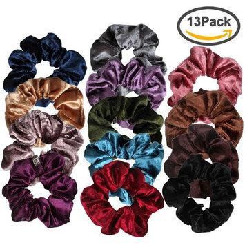 Ondder 13 Pack Elastic Velvet Scrunchy Hair Bobble Hair Bands Headbands Women Scrunchies Bobbles Hair Ties, 13 Colors