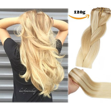 Clip In Human Hair Extensions Double Weft 8A Brazilian Hair 120g 7pcs Chocolate Brown to Dark Blonde Highlight Chocolate Brown Full Head Silky Straight 100% Human Hair Clip In Extensions 14 Inch