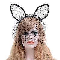 Sexy Cat Ears headband Lace Women Girls Masquerade Mask Dots Black White Gossamer Mask Cosplay For Party