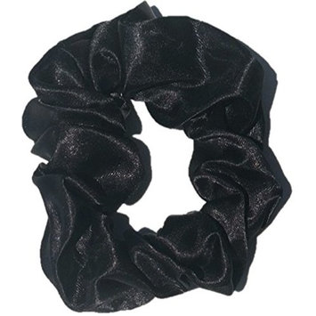 Premium Satin Scrunchies (Set of 5) Medium Tension, Large Satin Ponytail Holder, Sleep Scrunchie (Black) Glow by Daye