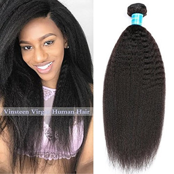 Vinsteen 8A Human Hair Weave 1 Bundles Kinky Straight Unprocessed Human Virgin Hair Extensions 100g Natural Color