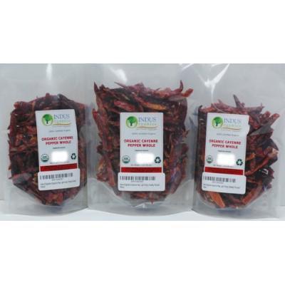 Indus Organics Cayenne Pepper Whole (40,000 SHU), 3 Oz Bag (3 pack), Steam Sterilized, Premium Grade, High Purity, Freshly Packed