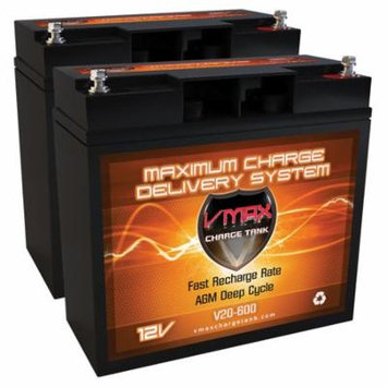 QTY 2 V20-600 AGM Group 1/2 U1 Deep Cycle Battery Replacement for Go Go Travel Mobility Elite Traveller Plus SC53 SC54 12V 20Ah Battery