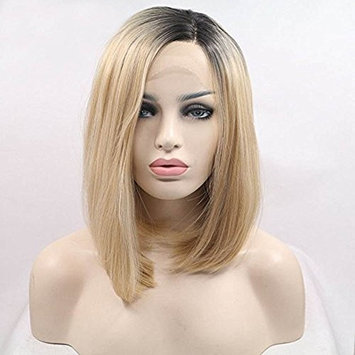 Realistic Looking Short Bob Wigs Ombre Blonde Lace Front Wig Straight For Women 2 Tones Dark Roots Synthetic Wig Glueless Heat Resistant Fiber Hair Half Hand Tied 8 inches