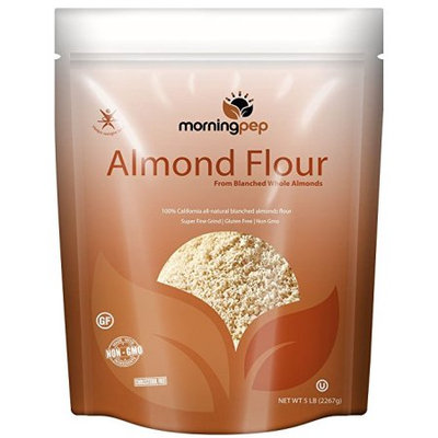 Morning Pep Bulk 5 Lbs 100 % All Natural Blanched ALMOND MEAL FLOUR Finely Ground - Gluten Free - Cholesterol Free Product of USA Large 80 Oz