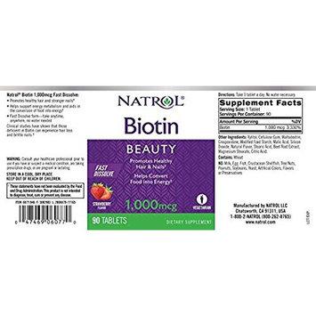 Natrol Biotin Strawberry Flavor, 1,000mcg, 90 Count (2 Pack)