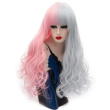 Alacos New Style 2 Color Ombre 75CM Long Curly Synthetic Anime Cosplay Christmas Costumes Wigs For Women +Wig Cap