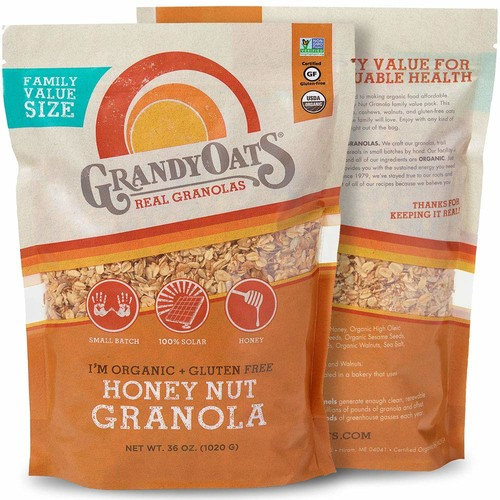 Grandy Oats Honey Nut Granola, Certified Organic, Gluten Free, Family Value Size, 36oz bags (Pack of 2)